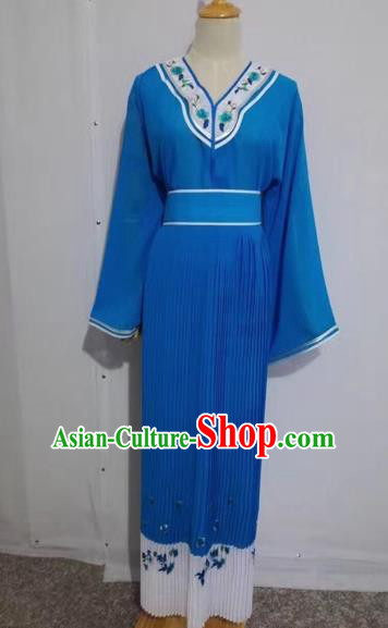 Chinese Peking Opera Young Lady Blue Dress Traditional Beijing Opera Diva Costumes for Adults