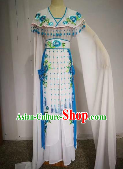 Chinese Ancient Peking Opera Actress Embroidered White Dress Traditional Beijing Opera Diva Costumes for Adults