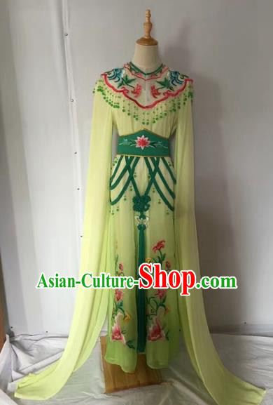 Traditional Chinese Peking Opera Rich Lady Costume Beijing Opera Diva Fairy Green Dress for Adults