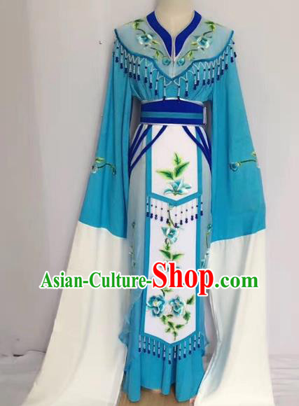 Traditional Chinese Peking Opera Princess Fairy Blue Dress Beijing Opera Diva Costume for Adults