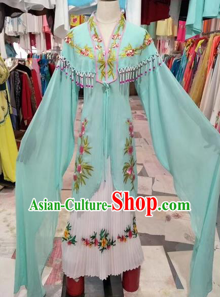 Chinese Shaoxing Opera Princess Green Dress Traditional Beijing Opera Diva Costume for Adults