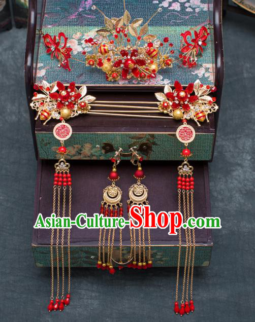 Chinese Ancient Hanfu Wedding Hair Accessories Traditional Red Flowers Phoenix Coronet Hairpins for Women