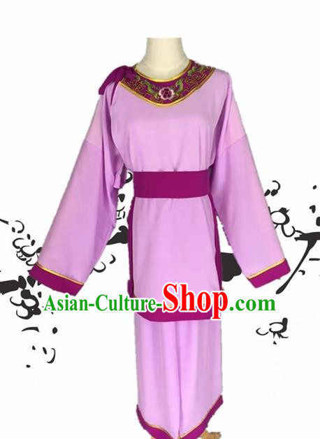 Chinese Beijing Opera Livehand Purple Clothing Traditional Peking Opera Servant Costume for Adults