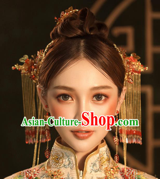Chinese Ancient Golden Tassel Step Shake Wedding Hair Accessories Traditional Hairpins for Women