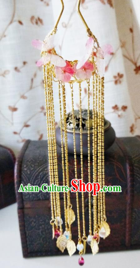 Chinese Ancient Qing Dynasty Hair Accessories Palace Pink Flowers Golden Tassel Hairpins for Women