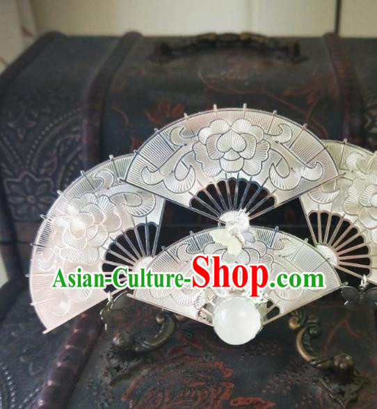 Chinese Ancient Qing Dynasty Hair Accessories Palace Fans Hairpins for Women