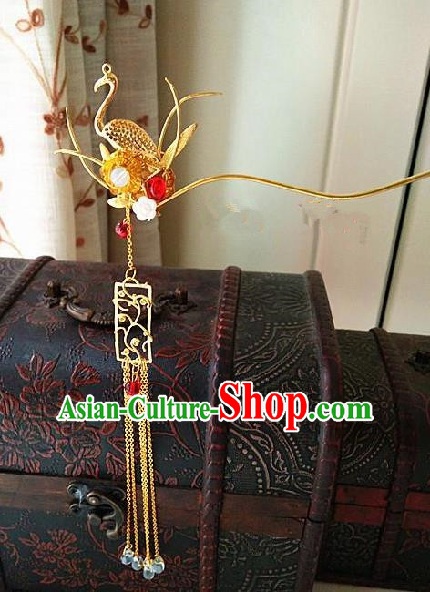 Chinese Ancient Qing Dynasty Hair Accessories Palace Crane Tassel Hairpins for Women
