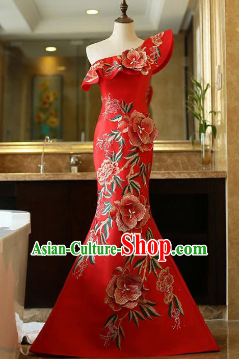 Chinese Traditional Compere Red Full Dress Embroidered Cheongsam Chorus Costume for Women