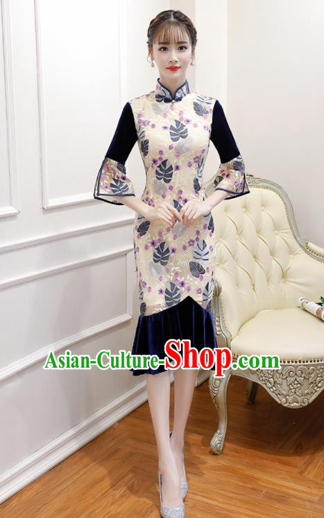 Chinese Traditional Full Dress Cheongsam Compere Costume for Women