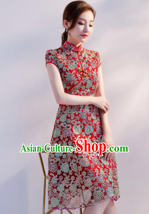 Chinese Traditional Full Dress Embroidered Cheongsam Compere Costume for Women