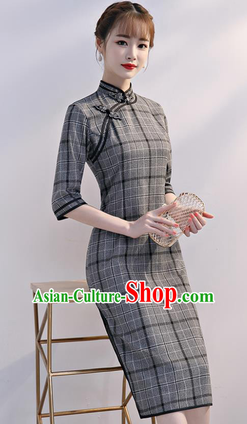 Chinese Traditional Full Dress Grey Short Cheongsam Compere Costume for Women