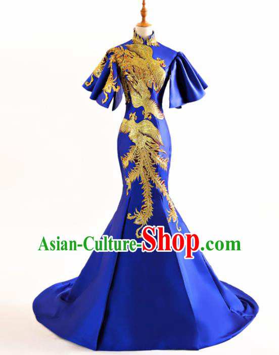Chinese Traditional Embroidered Phoenix Cheongsam Royalblue Full Dress Compere Chorus Costume for Women