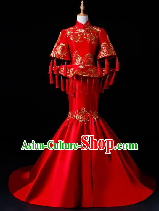 Chinese Traditional National Red Cheongsam Compere Chorus Costume Full Dress for Women