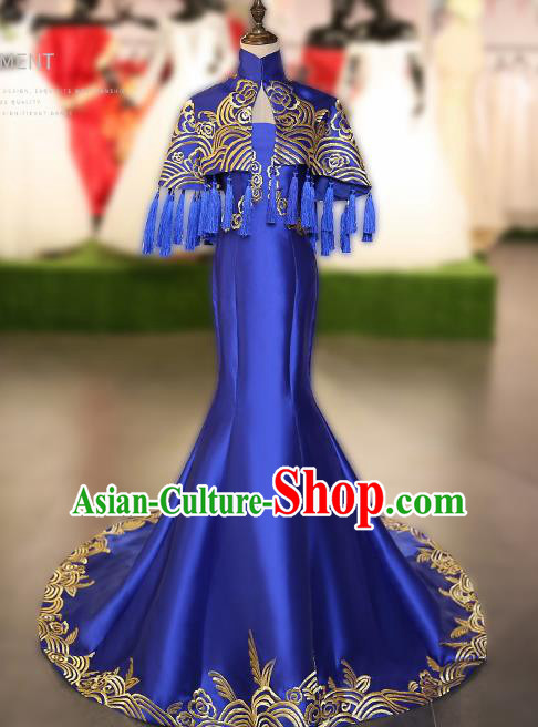 Chinese Traditional Embroidered Royalblue Full Dress Compere Chorus Costume for Women