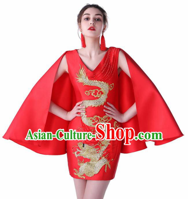 Chinese Traditional Embroidered Dragon Red Short Full Dress Compere Chorus Costume for Women