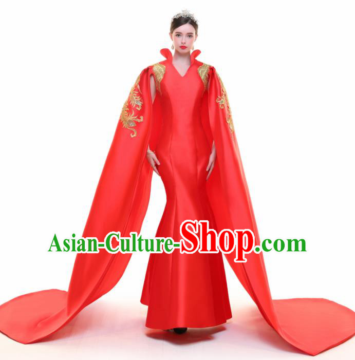 Chinese Traditional Red Cloak Full Dress Compere Chorus Costume for Women