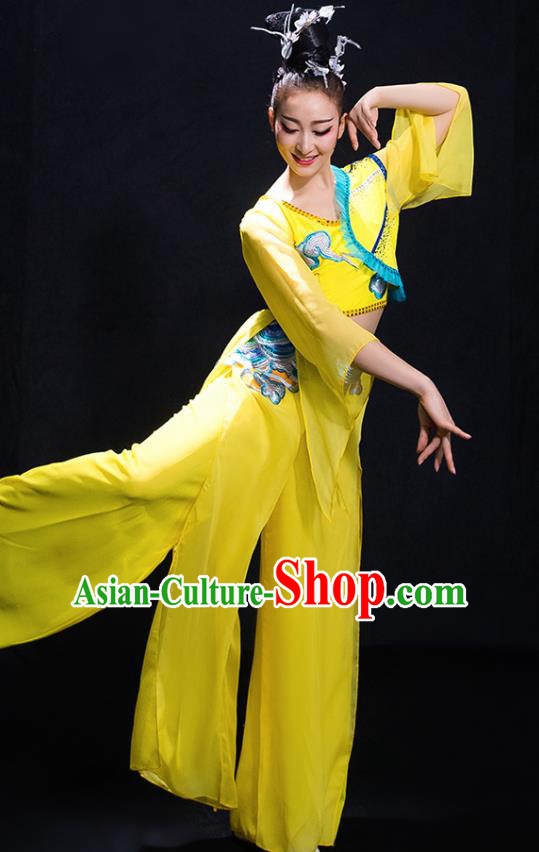 Chinese Traditional Classical Dance Fan Dance Yellow Dress Umbrella Dance Costume for Women