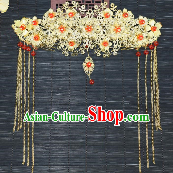 Chinese Traditional Hair Accessories Ancient Hanfu Flowers Phoenix Coronet Hairpins for Women