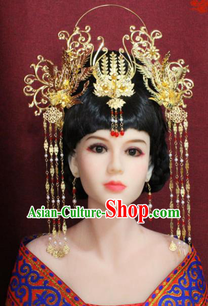 Chinese Handmade Tang Dynasty Queen Phoenix Coronet Ancient Palace Hair Accessories Hairpins for Women