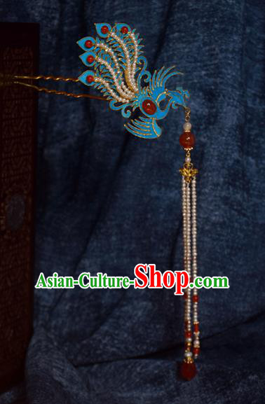 Chinese Ancient Qing Dynasty Phoenix Tassel Step Shake Hair Accessories Handmade Hairpins for Women