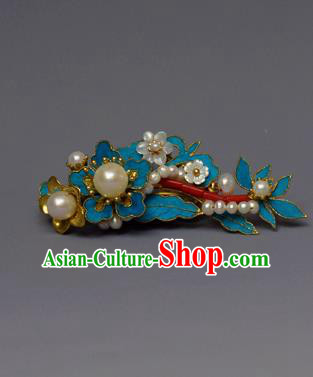 Chinese Ancient Qing Dynasty Pearls Hair Comb Hair Accessories Handmade Hairpins for Women