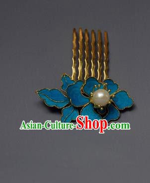 Chinese Ancient Qing Dynasty Palace Tian-Tsui Hair Comb Hair Accessories Handmade Hairpins for Women