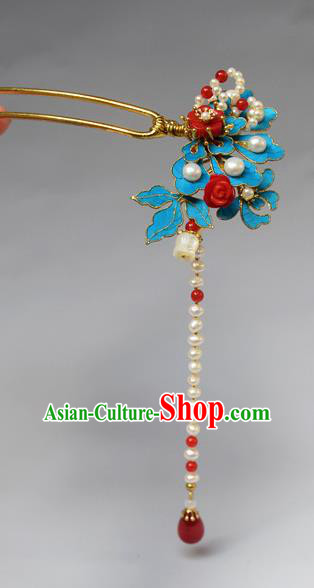 Chinese Ancient Qing Dynasty Palace Pearls Tassel Tian-Tsui Hair Accessories Handmade Hairpins for Women