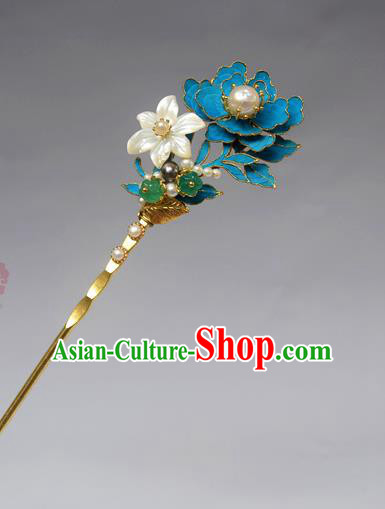 Chinese Ancient Qing Dynasty Palace Tian-Tsui Flowers Hair Accessories Handmade Hairpins for Women