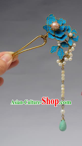 Chinese Ancient Qing Dynasty Palace Hair Accessories Handmade Tian-Tsui Pearls Tassel Hairpins for Women