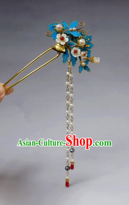 Chinese Ancient Qing Dynasty Palace Hair Accessories Handmade Tian-Tsui Butterfly Tassel Hairpins for Women