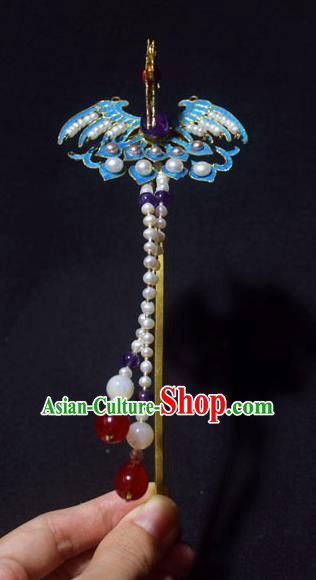 Chinese Ancient Qing Dynasty Hair Accessories Tian-Tsui Phoenix Hair Clip Handmade Palace Hairpins for Women