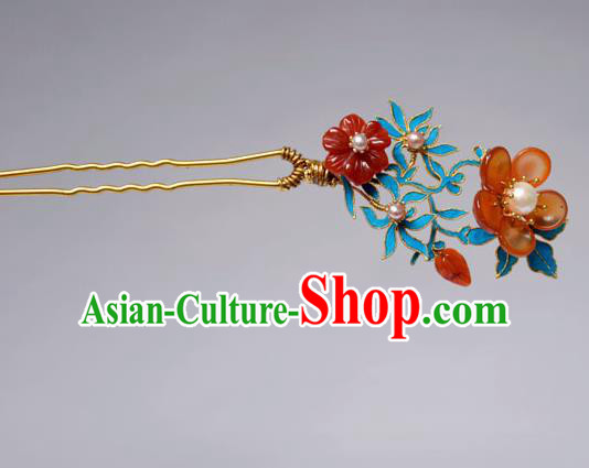 Chinese Ancient Qing Dynasty Hair Accessories Princess Red Flowers Hair Clip Handmade Palace Hairpins for Women
