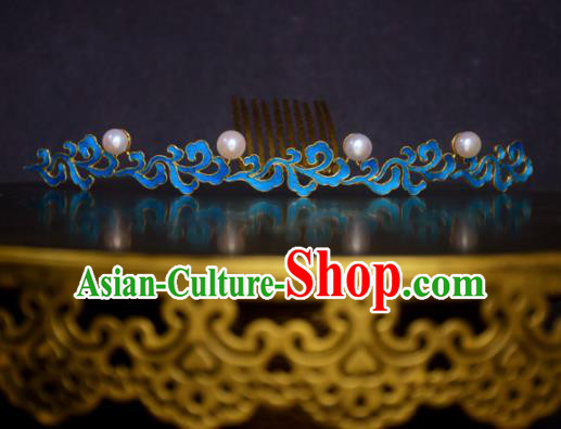 Chinese Handmade Princess Hanfu Hairpins Blueing Pearls Hair Comb Ancient Hair Accessories for Women