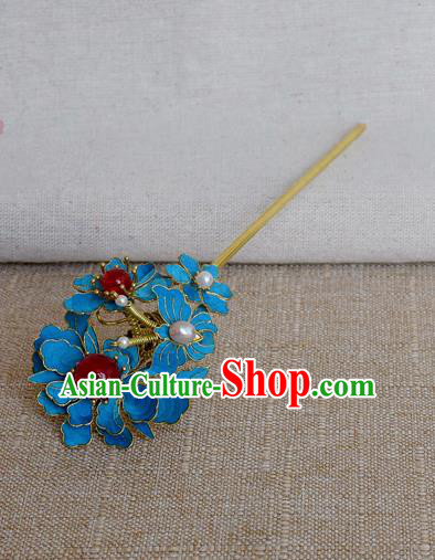 Chinese Handmade Qing Dynasty Palace Hairpins Hair Accessories Ancient Hanfu Blueing Hair Clip for Women