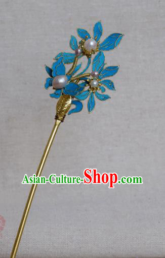 Chinese Handmade Qing Dynasty Palace Pearls Hairpins Hair Accessories Ancient Hanfu Hair Clip for Women