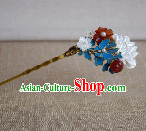 Chinese Handmade Qing Dynasty Palace Shell Lotus Hairpins Hair Accessories Ancient Hanfu Hair Clip for Women