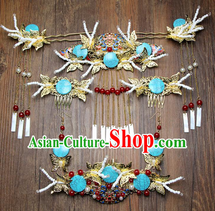 Chinese Ancient XiuHe Suit Cloisonne Hair Combs Bride Handmade Hairpins Hair Accessories Complete Set for Women