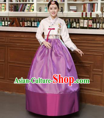Korean Traditional Costumes Asian Korean Hanbok Palace Bride Embroidered White Blouse and Purple Skirt for Women