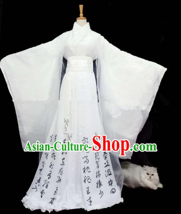 Chinese Ancient Cosplay Peri Costumes Traditional Han Dynasty Princess White Hanfu Dress for Women