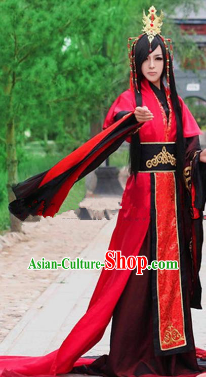 Chinese Ancient Swordsman Red Hanfu Han Dynasty Royal Highness Wedding Costume for Men