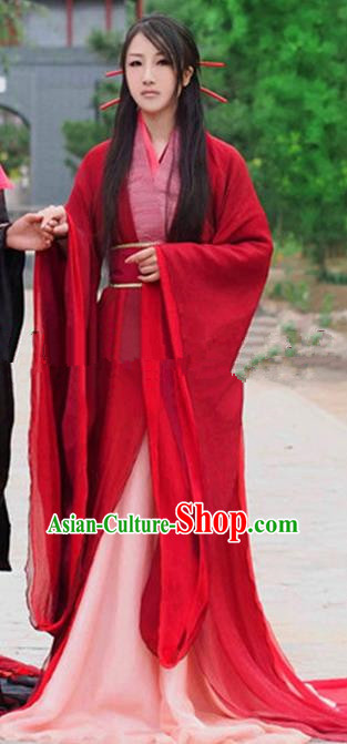 Chinese Ancient Cosplay Peri Goddess Red Hanfu Dress Traditional Han Dynasty Princess Wedding Costume for Women