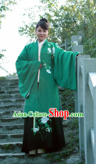 Chinese Ancient Nobility Lady Green Cloak Ming Dynasty Embroidered Costume for Rich Women