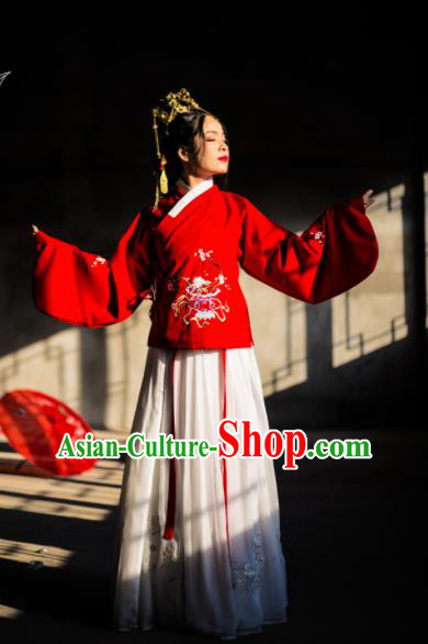 Chinese Ancient Nobility Lady Embroidered Hanfu Dress Traditional Ming Dynasty Costume for Rich Women
