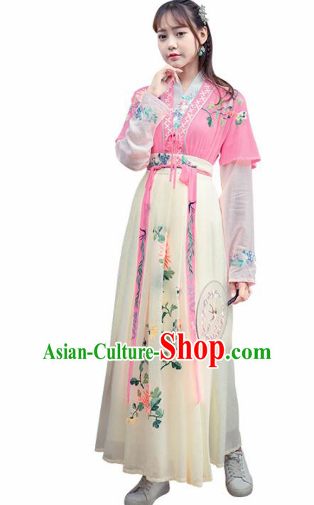 Chinese Ancient Tang Dynasty Nobility Lady Hanfu Dress Embroidered Costume for Rich Women