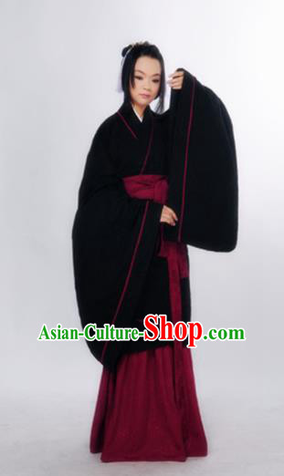 Traditional Chinese Han Dynasty Marquise Costume Ancient Palace Lady Black Curving-Front Robe for Women