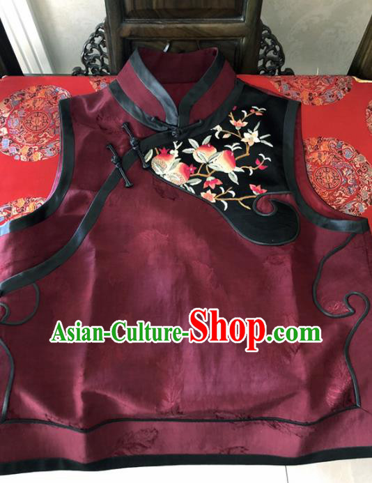 Traditional Chinese Handmade Brocade Costume Tang Suit Embroidered Wine Red Vest for Women
