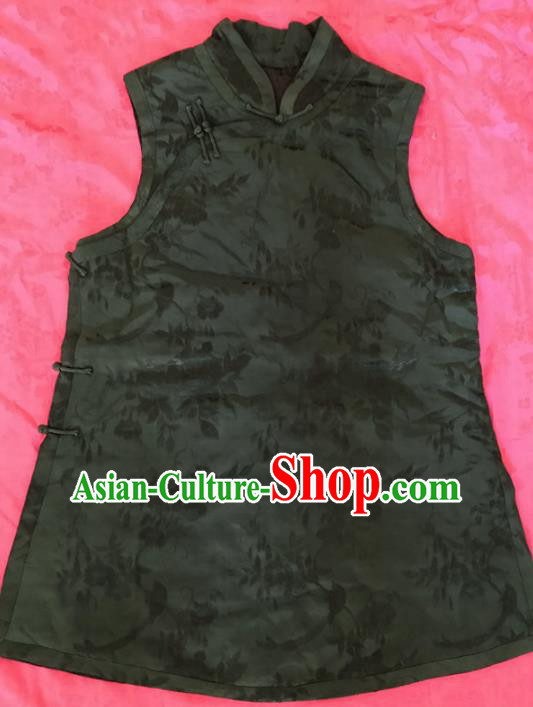 Traditional Chinese Handmade Atrovirens Waistcoat Costume Tang Suit Embroidered Vest for Women
