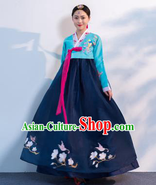 Top Grade Korean Traditional Costumes Asian Korean Hanbok Bride Blue Blouse and Navy Skirt for Women