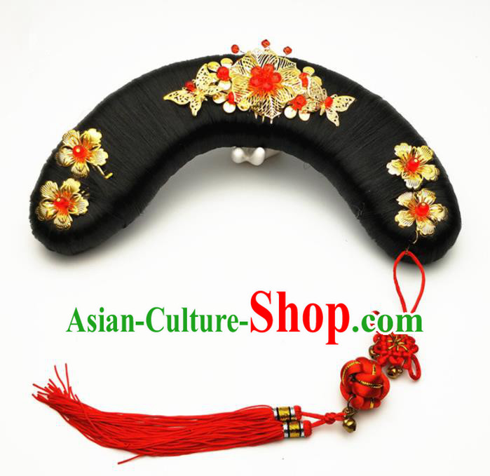 Chinese Ancient Qing Dynasty Princess Hair Accessories Palace Lady Golden Hairpins and Wigs for Kids