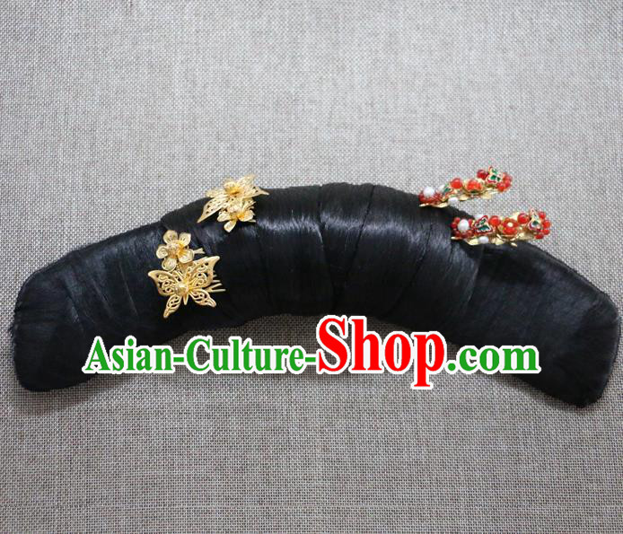Chinese Ancient Qing Dynasty Palace Lady Hair Accessories Hairpins and Wigs for Women